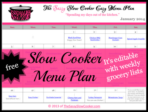 FREE Family Friendly Menu Plan for January