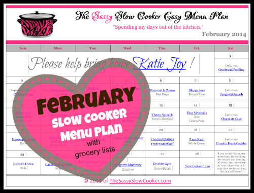 FREE February Slow Cooker Menu Plan with weekly grocery lists!