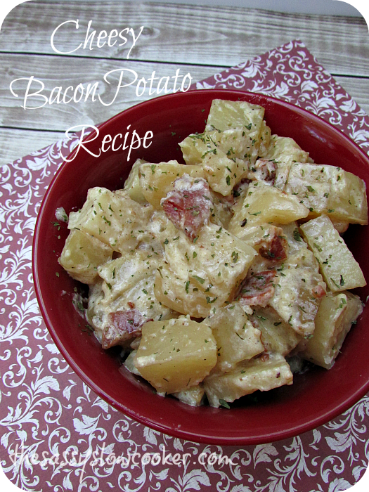 Slow Cooker Cheesy Potato Recipe with Bacon!