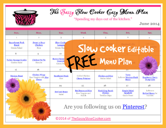 Slow Cooker Family Friendly Menu Plan with Recipe Links – June