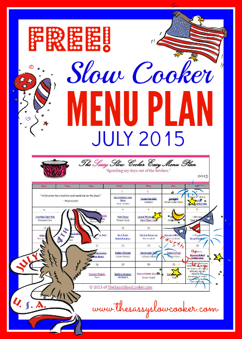 Slow Cooker Family Friendly Menu Plan – July 2015