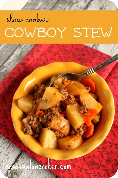 The best cowboy stew in the slow cooker. It's so easy and it's a comfort food!