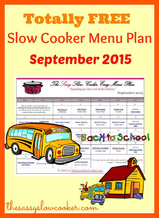 Slow Cooker Menu Plan FREE