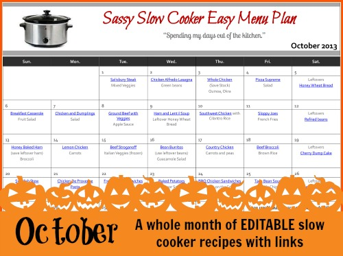 Slow Cooker Family Friendly Menu Plan with Recipe Links – October