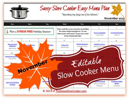 Slow Cooker Family Friendly Menu Plan with Recipe Links – November