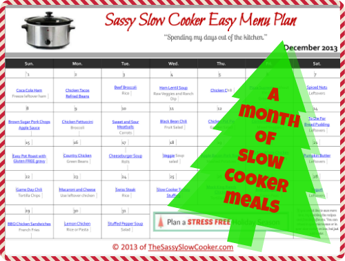 Slow Cooker Family Friendly Menu Plan with Recipe Links – December