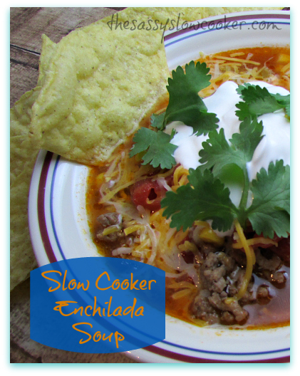 EASY Enchilada Soup in the Slow Cooker