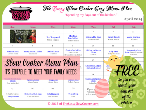Slow Cooker Family Friendly Menu Plan with Recipe Links – April