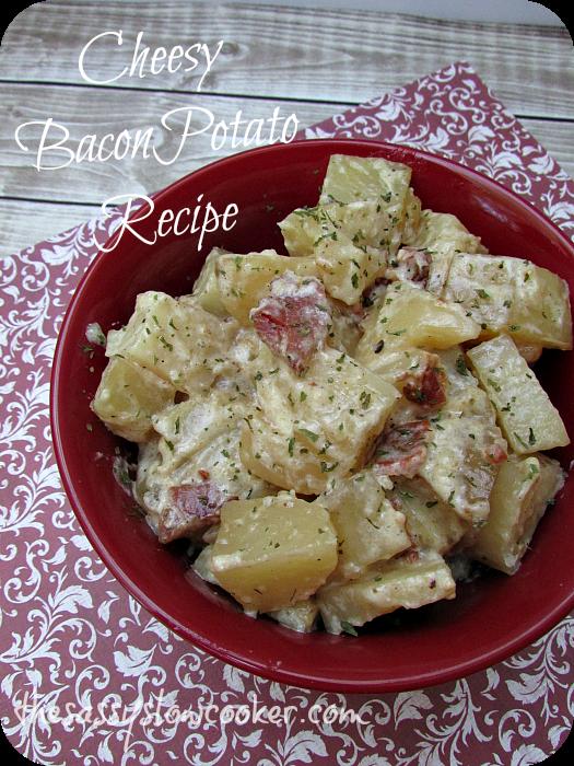 Slow Cooker Cheesy Potato Recipe with Bacon!