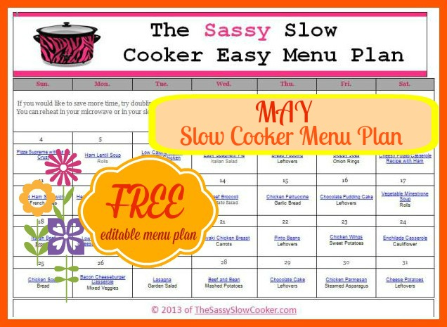 Slow Cooker Family Friendly Menu Plan with Recipe Links – May