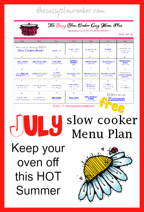 Slow Cooker Family Friendly Menu Plan with Recipe Links – July